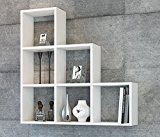 YAMAN Étagère murale - Blanc - étagère à livres pour décoration de salon en bois dans un design moderne