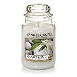 Yankee Candle 1507710E Bougie Parfumée Grande Jarre à Sel de Mer et Sauge Combinaison Rose 10 x 9,8 x 14,7 ...
