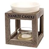 Yankee Candle 1507924 Bruleur Tartelette Bois/Céramique/Combinaison Blanc/Gris 9,4 x 9,8 x 11,6 cm