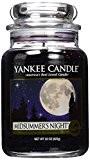 Yankee Candle Grande bougie en pot, Midsummer de nuit, Verre, noir, L Jar Candle