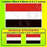 Yémen al-Yaman, drapeau du Yémen 10,2cm Bumper Sticker en vinyle (100mm), en x1+ 2Bonus