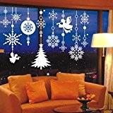 YESURPRISE Sticker Noël Décoration Mural Autocollant pour Verre Vitrine Flocon de neige Blanc 60*70cm