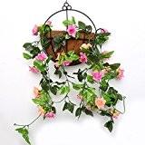 yiliyajia rose garland artificiel artificielle vigne vigne fleur en soie vert feuille de rose déco décoration 8 pi de longueur ...