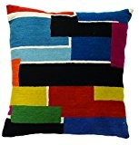 Zaida Housse de coussin 45 x 45 cm Coussin en laine et coton Motif briques Multicolore