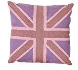 Zaida Housse de coussin 45 x 45 cm Coussin en laine et coton Motif Union Jack rose