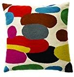 Zaida Housse de coussin 60 x 60 cm (laine et coton Motif galets Multicolore