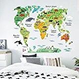 Zooarts Sticker mural en vinyle pour chambre d'enfant Motif carte du monde et animaux