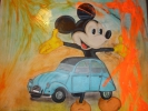 Painting - mickey voiture