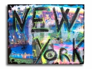 Painting - Tableau new york city noir bleu rose moderne design