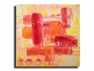 Painting - Tableau toile carré rouge rose orange jaune blanc