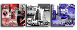 Painting - Tableau toile collage photos londres bleu noir rouge design unio