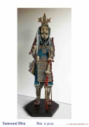 sculpture personnages japon guerrier tradition collection : SAMOURAÏ BLEU