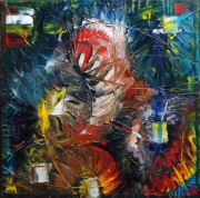 Tableau Peinture Rouge Bleu Jaune Galerie Creation