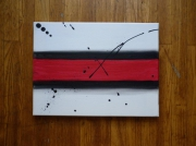 tableau abstrait abstrait noir blanc rouge : Abstract Painting