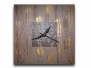 tableau abstrait horloge pendule beige marron : Tableau horloge beige doré or marron moderne contemporain abstra