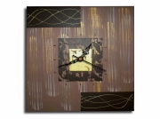 tableau abstrait horloge pendule marron chic : Tableau horloge beige doré or marron moderne contemporain abstra