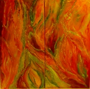 tableau abstrait jaune rouge orange moderne : DYPTIQUE ERUPTION 2