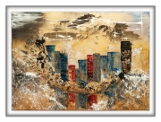 tableau abstrait new york imaginaire structuree moderne : urban city
