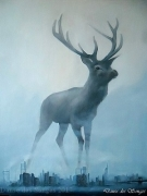 tableau animaux cerf deer ville city : Interlude