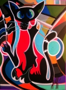 tableau animaux chat animaux toiles peinture : CHATVOIR
