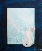 tableau animaux chat blanc angora mainecoon : Germain