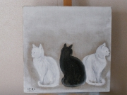 tableau animaux chat chatton : trio chat
