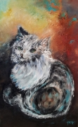 tableau animaux chat huile turquoise tendre : Chat