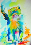 tableau animaux chat illustration aquarelle : Dudule le Grand Duc