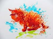tableau animaux chat illustration aquarelle feerie : Froufrou