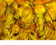 tableau animaux jungle dore afrique ocre : jaune jungle