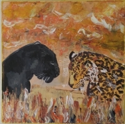 tableau animaux leopards : Tendresse