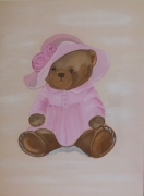 tableau animaux ours ourson rose tableau petite fille : Ours rose
