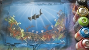 tableau animaux requin mer paysage corail : Requin