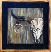tableau animaux squelette tete de vache cornes attrapereves : Skeleton bull's head dreamcatcher