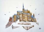 tableau architecture le mont saint michel aquarelle watercolor manche : LE MONT SAINT MICHEL 4
