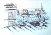 tableau architecture paris toits de paris aquarelle : Toits de Paris