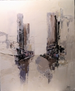 tableau architecture urbain ville abstrait new york : MATIN EN VILLE
