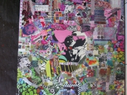 tableau autres art pop collage cutomisation art de rue : GREEN PINK