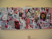 tableau autres art pop collage cutomisation recyclage : NO PASARAN