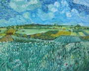 tableau copie van gogh plaine d auvers impressionnisme reproduction : PLAINE PRES D'AUVERS