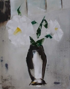 tableau fleurs feurs blanches bouquet abstraction nature morte : abstraction