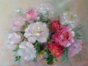tableau fleurs fleurs peonies moderne image : painting *Gentle peonies*Oil on canvas 80x60 cm