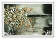 tableau japon gris cascade ame : waterfalls