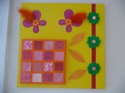 tableau jaune rose orange vert : Printemps citron...