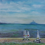 tableau marine bretagne mont st michel cancale mer : CHARS A VOILE A CANCALE