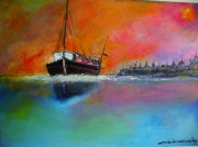 tableau marine contemporain : rose marine