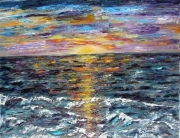 tableau marine mer paysage impressionnisme huile : COUCHANT