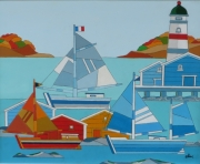 tableau marine : phare et voiliers