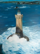 tableau marine phare mer tempete vague : le phare du Four