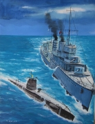 tableau marine sousmarin la vestal royal navy collision hms wishart : Rencontre tragique